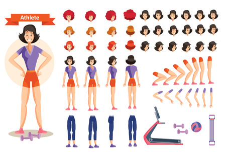 Set for creating character woman athlete, cartoon illustrations. Faces, front, side and back view, emotions,arms and legs in different positions, clothes and dumbbells for weight training