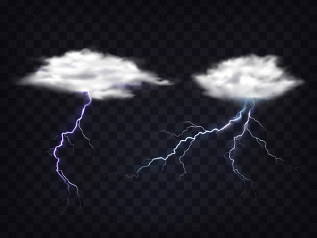 Set of illustrations of transparent white clouds with a charge of lightning in a realistic style. Template, element for design.