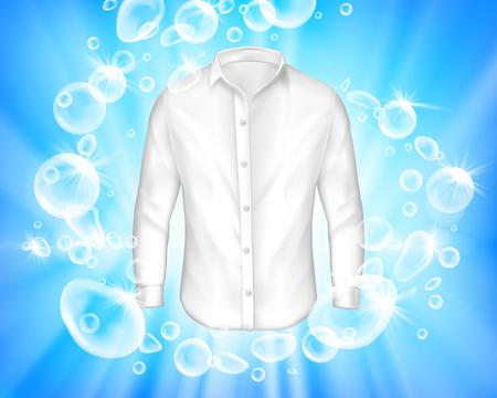 bannière réaliste avec chemise blanche brillante entourée de bulles de savon sur fond bleu. Maquette de conception de lessive, modèle d'annonce de détergent