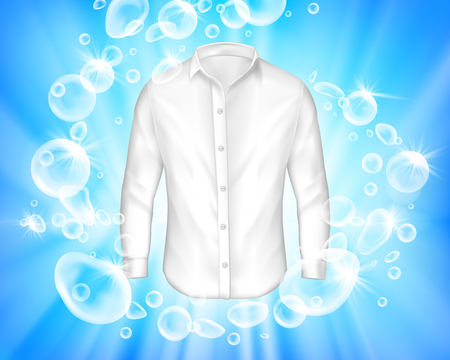 realistic banner with shine white shirt surrounded by soap bubbles on blue background. Mock up design laundry, detergent ad template