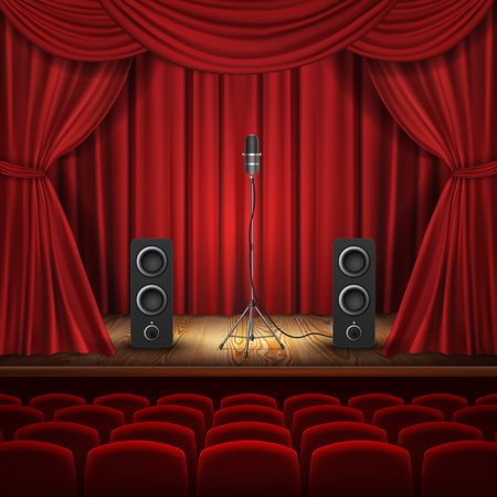 Vector illustration with microphone and loudspeakers on podium. Hall with red curtains for presentation. Stage for stand up, performance or lecture. Public scene for speech of orator