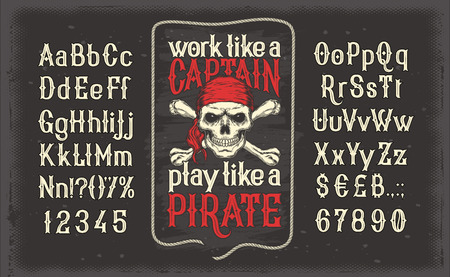 illustration of a vintage Latin alphabet alphabet of letters and numbers with a frame and a pirate skull in a red bandana. Template, design element. Stock fotó