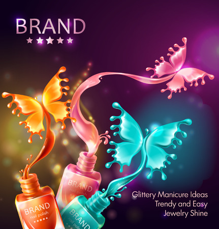 realistic 3d cosmetic background, open bottles with nail polish with splashes in form of neon butterflies. Mock up, template packaging design with brand info, promo poster for nail lacquer