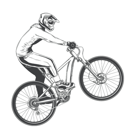 Ride on a sports bicycle, BMX cyclist performing a trick, mountain bike competition, black illustration isolated on a white background Stok Fotoğraf