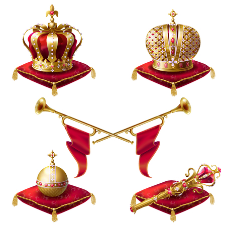 Royal golden crowns with jewels, fanfares, scepter and orb on red velvet pillows, set of realistic icons isolated on white background. Heraldic elements, monarchic symbols Banque d'images
