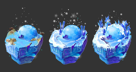 Vector isometric 3d fantastic ice islands for game design set. Cartoon illustration with frozen ground surface, icehouse igloo, crystals and snowflake on dark background. Winter north landscape.