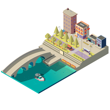 Vector isometric map of town with buildings, modern cityscape, river canal with bridge and ship, street with residential houses. City architecture, landscape of embankment. Urban concept illustration