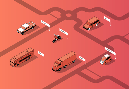 Vector set of isometric urban transportation on road. Cars with shadows on route, isolated on red background. Automobiles - bus, truck and others. City vehicles collection. Stok Fotoğraf