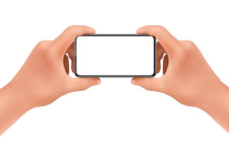 Vector 3d mani umane realistiche che tengono smartphone per scattare foto. Modello, mock up per app mobile o pubblicità. Schermo del dispositivo elettronico, smartphone per poster, banner.