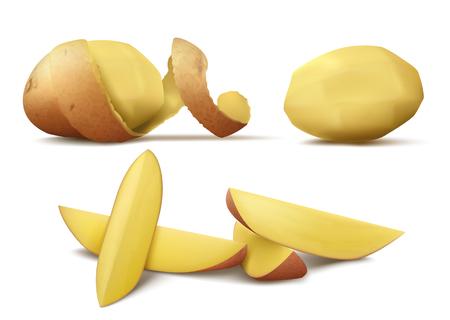 Image vectorielle clipart réaliste avec pomme de terre crue épluchée, légume entier avec peau en spirale brune et tranches isolées sur fond blanc. Aliments biologiques naturels, produit agricole à manger, ingrédient pour cuisiner Vecteurs