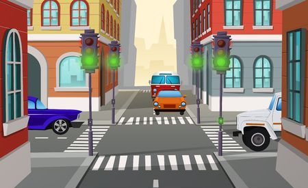Vector cartoon illustration city crossroad with green traffic lights and cars, intersection of roads. Urban architecture, street with buildings, pedestrian crosswalks and sidewalks, cityscape concept Ilustração