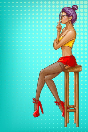 Vector pop art girl is sitting on wooden bar stool. Sexy woman character in stockings, short skirt and crop top. Model with cigarette isolated on blue dotted background for ad poster, promo banner.