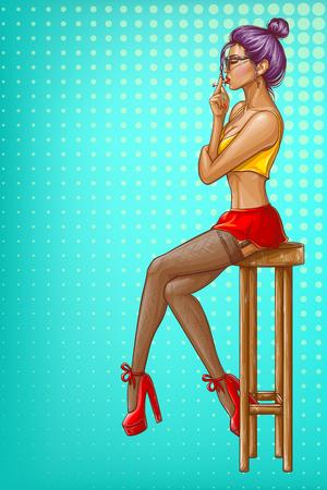 La muchacha del arte pop del vector está sentada en el taburete de la barra de madera. Carácter de mujer sexy en medias, falda corta y top corto. Modelo con cigarrillo aislado sobre fondo azul punteado para cartel publicitario, banner promocional.