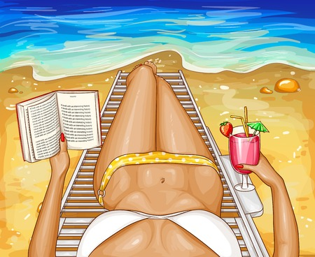 Vector pop art woman in bikini with book, lying on chaise-longue near sea water. Top perspective view of sexy body with long legs on beach for ad poster. Poster with summer girl relaxing with cocktail Illustration