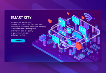 Smart city vector illustration of users internet communication in town. Isometric houses in wireless connection for online chat and bitcoin cryptocurrency for IOT on purple ultraviolet background