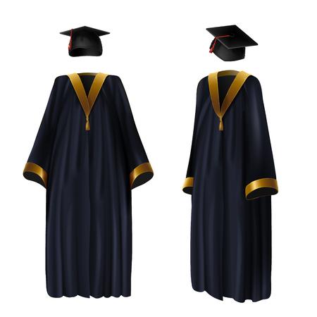 Afstuderen kleding, toga en pet realistische vectorillustratie. Traditioneel pak van afgestudeerden van school, hogeschool en universiteit met gouden lintdecoratie, voor- en zijaanzicht, geïsoleerd op wit