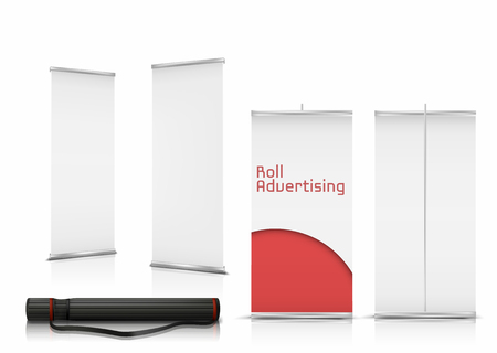 Vector realistic set of blank roll up banners, vertical stands with paper canvases for advertising isolated on background. Mockup with empty white billboards and black case for roll-up displays