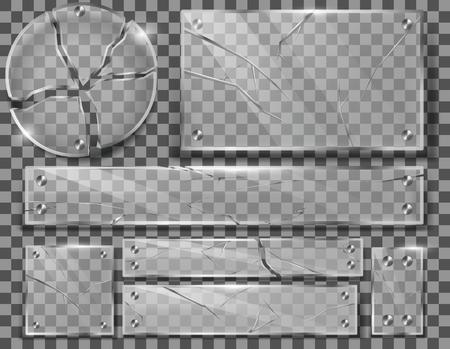 Vector conjunto de placas de vidrio transparente rotas con grietas, paneles rotos con fragmentos afilados aislados en el fondo. Colección de marcos agrietados con tornillos metálicos. Clipart para su diseño