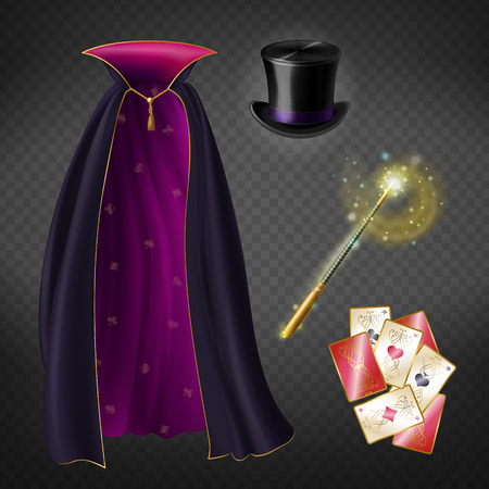 Vector realistic set with illusionist equipment for tricks isolated on transparent background. Magician cape, black top hat, playing cards, magic wand with glow and sparkles. Clipart for your design Illustration
