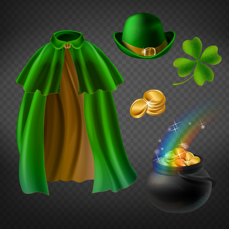 Vector set of saint Patricks day elements, isolated on background. Green cape of leprechaun, bowler hat, magic pot with gold coins and rainbow, shamrock, clover leaf. Clipart for your design