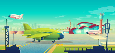 Vector cartoon illustration, green airliner, jet on runway. Takeoff or landing of commercial airplanes against background of blue sky or airport building with control tower. Concept advertising banner