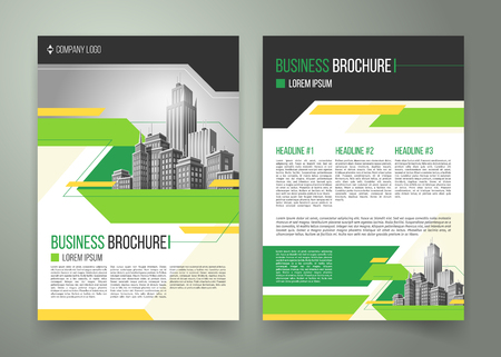 flyer, cover design of the companys annual business report, magazine page, presentation template with green elements and black white buildings. Advertising brochure of the real estate agency