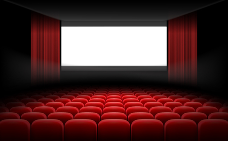 White luminous cinema movie theatre screen with red curtains and rows of chairs, realistic illustration, background. Concept movie premiere, poster with interior of a cinema and space for text Stockfoto