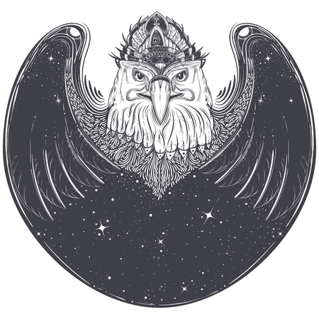 Black white tribal tattoo pattern, sketch abstract eagle head with wings, outer space and stars illustration isolated on white background. Predatory bird with pagan ornament, print for T-shirts