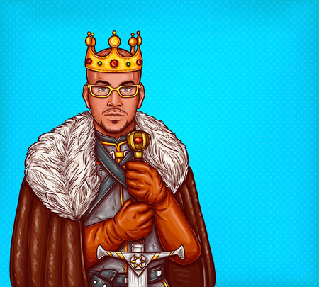 Medieval northern king pop art illustration. African american man in gold crown and glasses wearing leather coat with fur and steel armor standing with two-handed sword. Costume party overlord