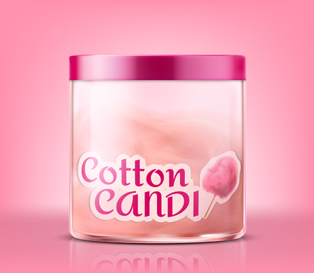 Vector realistic closed glass jar with cotton candy, isolated on pink background. Container with sweet sugar cloud inside, fluffy dessert, holiday treat for kids. Mockup for product advertising