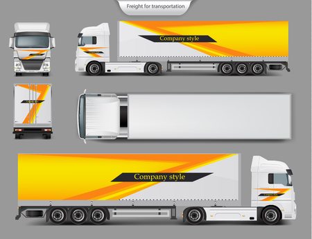 Set of 3d realistic icons of cargo truck, trailer front, back, top and side view isolated on gray background. Mock up, template brand design for truck, company style, identity Reklamní fotografie
