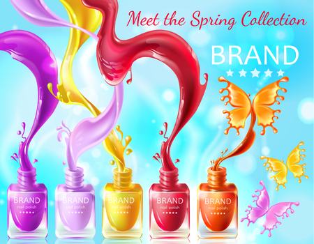 Cosmetic background, open bottles with nail polish with splashes in form of butterflies, 3d realistic . Mock up, template packaging design with brand information, promo poster for nail lacquer