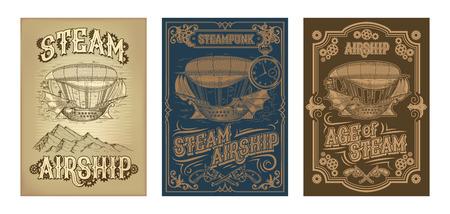 スチームパンクのポスターをセットし、ギアとピストルの装飾フレームで彫刻のスタイルで幻想的な木製の飛行船のイラスト。テンプレート、デザイン要素