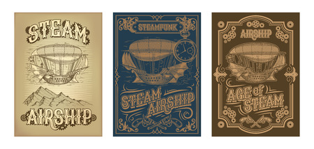 Set steampunk posters, illustrations of a fantastic wooden flying ship in the style of engraving with decorative frame of gears and pistols. Template, design element