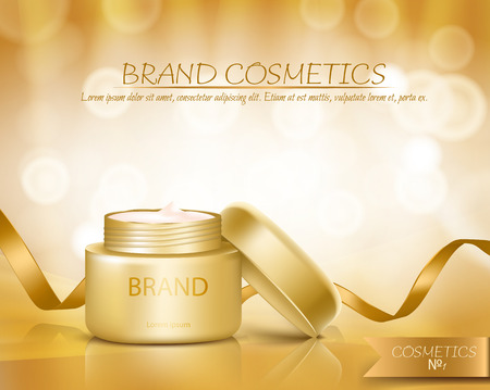 Gold jar with open lid is full of cosmetic cream on golden background with golden ribbon and bokeh, realistic. Template mock up for branding to promote luxury nourishing anti-aging facial cream 版權商用圖片
