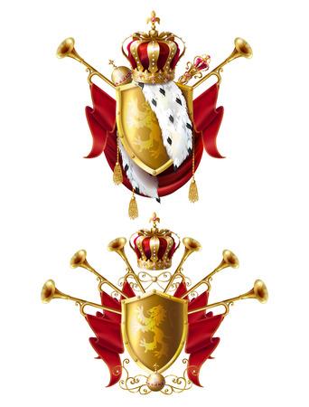 Couronnes d'or royales avec bijoux, fanfares, sceptre, orbe et armoiries avec velours rouge et fourrure d'hermine, définir des icônes réalistes isolés sur fond blanc. Éléments héraldiques, symboles monarchiques Banque d'images