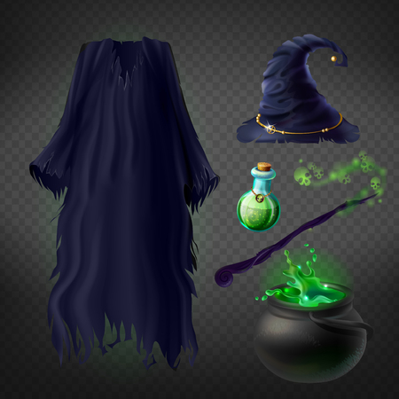 Vector set with witch costume for Halloween party and magical accessories isolated on transparent background. Wizard dress and hat, boiling cauldron with poison, magic wand and flask with potion Illustration