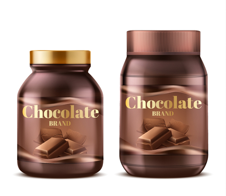 Vector 3d realistic chocolate paste in plastic jars with shadows. Natural dessert butter, creamy dark spread isolated on white background. Sweet product label for ad posters, banners. Cocoa food. Illustration