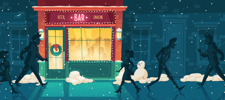 Vector background with beer bar at winter, Christmas Eve. People on the street and inside the establishment. Facade, entrance with illumination, signboard and wreath. Outdoor architecture background. Illustration