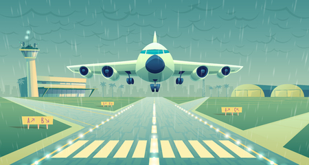 Vector cartoon illustration, white airliner, jet over runway. Takeoff or landing of commercial airplane in difficult weather conditions on background airport building and heavy rain. Concept banner