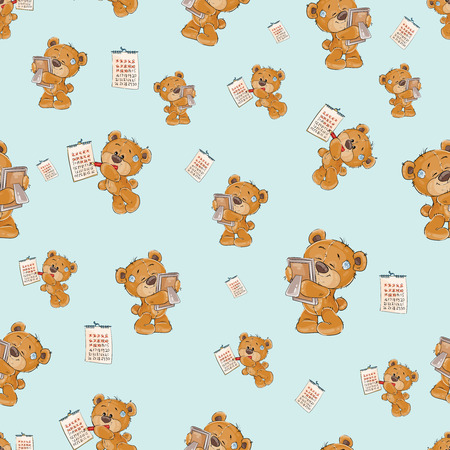 Seamless pattern with cute lonely brown teddy bear bored and waiting, striking out days in the calendar, cartoon illustration. Wallpaper print, template for childrens textiles, wrapping paper Stock Photo