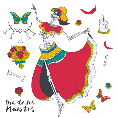 Abstract woman dancing female skeleton with butterflies and flowers illustration isolated on white background. Mystic and scary woman, terrible zombie, spooky witch, day of dead, dia de muertos