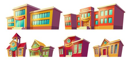 Set of cartoon illustrations of various color old, retro and modern educational institutions, schools isolated on white background. Template, design element, print.