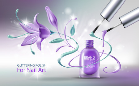 Glittering nail polish in open purple glass bottle, two brushes with colorful drops and beautiful flower. Decorative cosmetics 3D realistic illustration. Template for brand advertising, banner