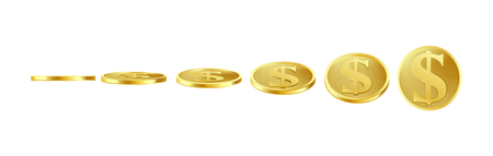 3D gold coins in six different views, front and side, at various tilt angles, isolated on white background. Ready sprite for object animation. Realistic icon of metal dollar with S symbol