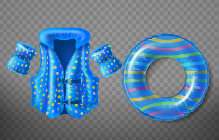Vector set with blue rubber ring, life jacket and inflatable armbands for kids isolated on transparent background. Swim aids to help children float in water, equipment for swimming in pool and sea