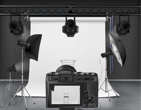 Vector photo studio with white roll-up screen, digital camera, spotlights and softboxes on tripod stands. Concept background, interior with modern lighting equipment for professional photography Çizim