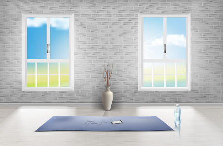Vector mockup of empty room with brick wall, two windows, blue carpet, vase and bottle of water on wooden floor. Interior scene, studio for fitness or yoga trainings, template for your design