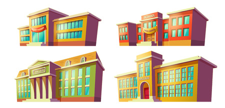Set of college and school buildings with back to school banner over door cartoon illustration drawn in perspective isolated on white background. City modern educational institutions elements 写真素材