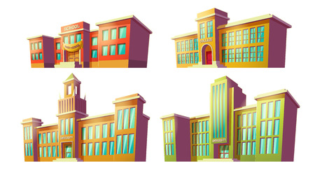 Set of cartoon illustrations of various color old, retro educational institutions, schools isolated on white background. Template, design element, print.